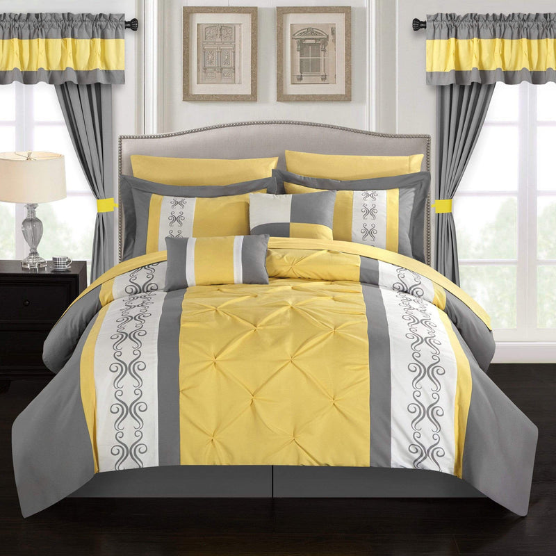 Chic Home Icaria 20 Piece Color Block Comforter Set Pinch Pleat Pintuck Design Bed in a Bag-Yellow