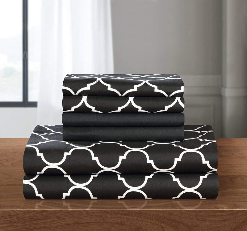 Chic Home Illusion 6 Piece Sheet Set with Pillowcases Geometric Pattern Print Black-SS4501-CHB