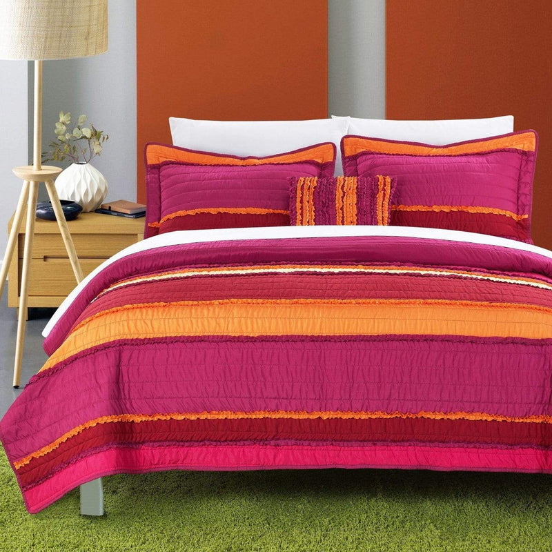Chic Home Italica 4 Piece Quilt Set Multi Color Global Design Pleated Ruffled Bedding