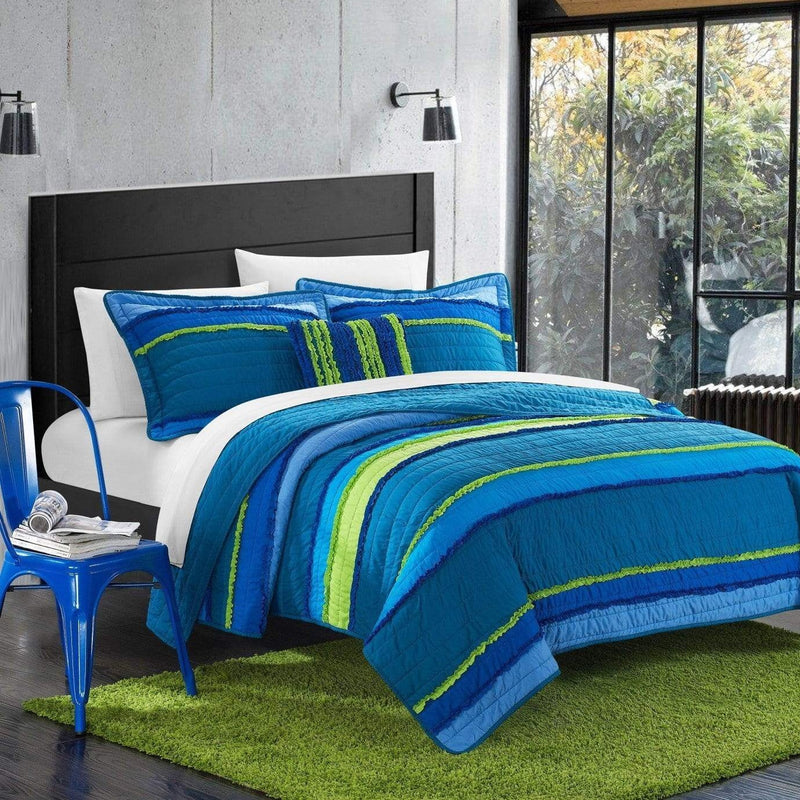 Chic Home Italica Noretta Moretta Catticott Eva Perona 4 Piece Quilt Set Multi Color Global Design Pleated Ruffled Bedding Blue