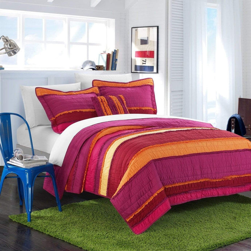 Chic Home Italica Noretta Moretta Catticott Eva Perona 4 Piece Quilt Set Multi Color Global Design Pleated Ruffled Bedding Purple