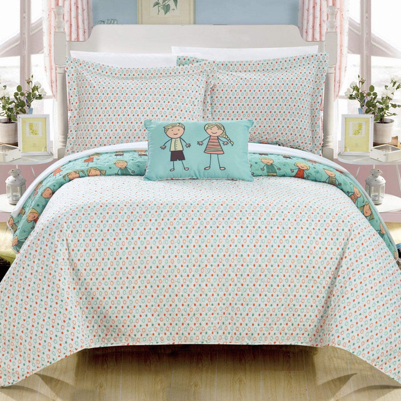 Chic Home Jacala 4 Piece Reversible Quilt Set Happy Kids Theme Printed Design Coverlet Bedding
