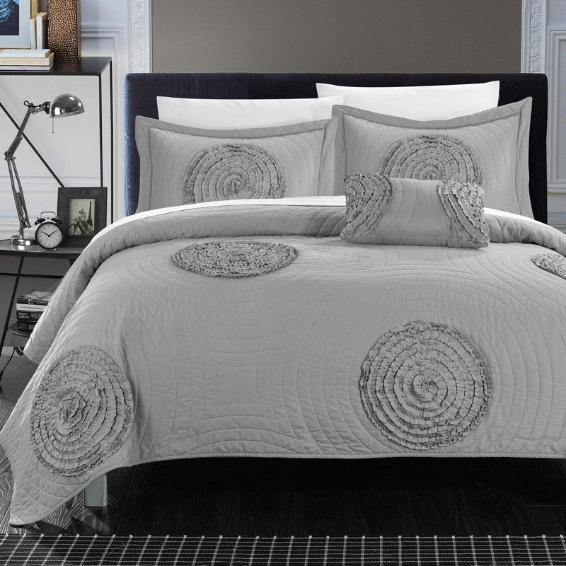 Chic Home Jupiter 4 Piece Quilt Cover Set Ruched Floral Abstract Applique Design Bedding