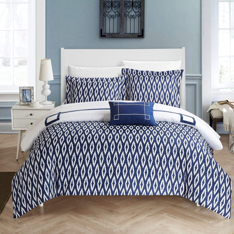 Chic Home Kendall 4 Piece Duvet Cover Set Reversible Greek Key Watercolor Print Bedding-