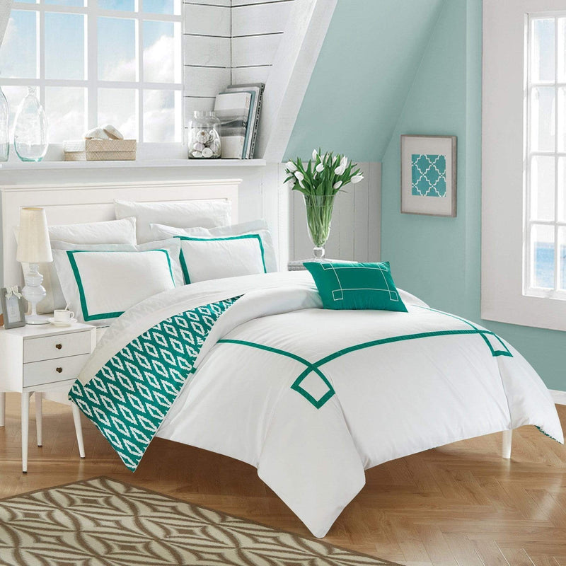 Chic Home Kendall 4 Piece Duvet Cover Set Reversible Greek Key Watercolor Print Bedding-Aqua