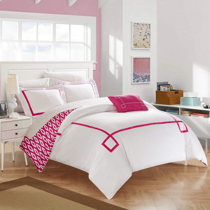 Chic Home Kendall 4 Piece Duvet Cover Set Reversible Greek Key Watercolor Print Bedding-Fuchsia