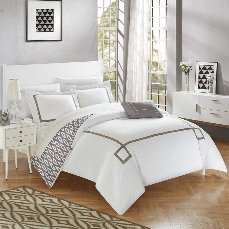 Chic Home Kendall 4 Piece Duvet Cover Set Reversible Greek Key Watercolor Print Bedding-Grey