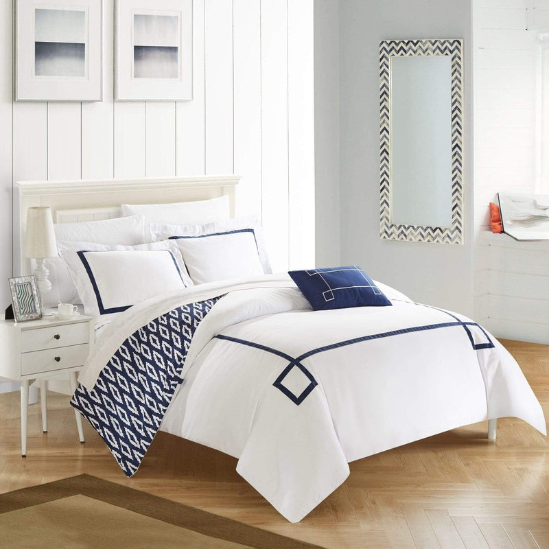 Chic Home Kendall 4 Piece Duvet Cover Set Reversible Greek Key Watercolor Print Bedding-Navy