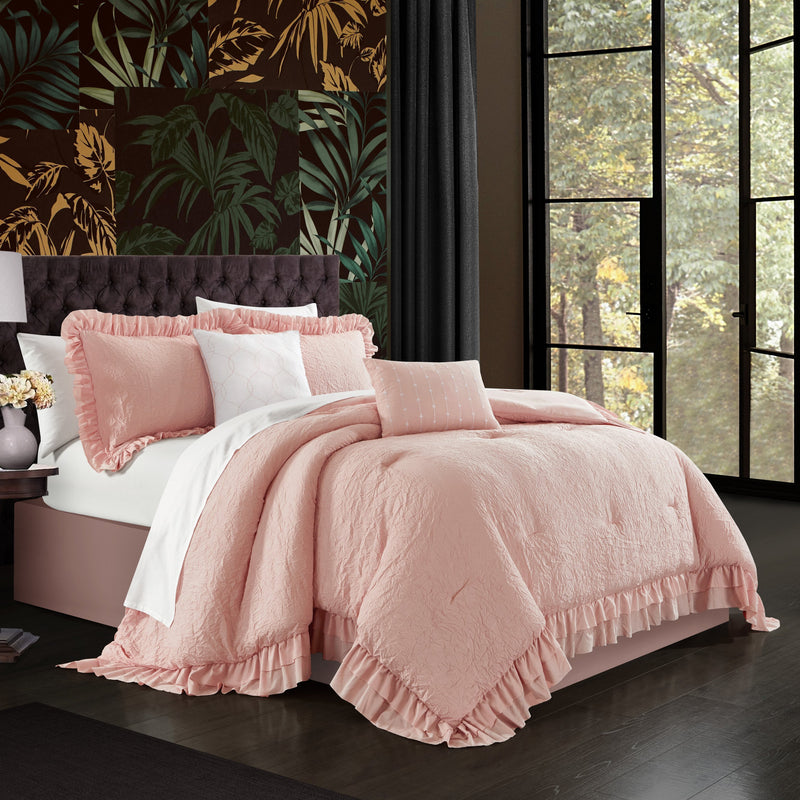 Chic Home Kensley 7/9 Piece Comforter Set Washed Crinkle Ruffled Flange Border Design Bed In A Bag-