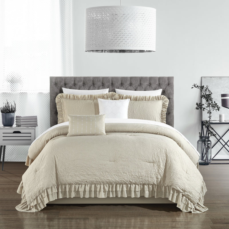 Chic Home Kensley 7/9 Piece Comforter Set Washed Crinkle Ruffled Flange Border Design Bed In A Bag-Beige