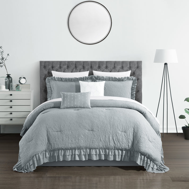 Chic Home Kensley 7/9 Piece Comforter Set Washed Crinkle Ruffled Flange Border Design Bed In A Bag-Grey