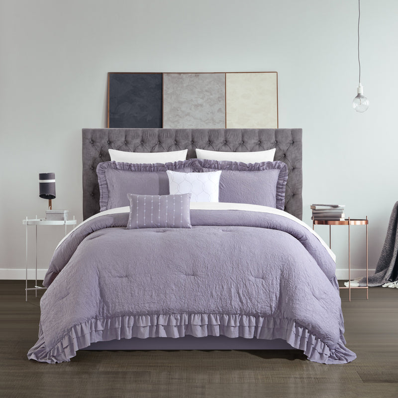Chic Home Kensley 7/9 Piece Comforter Set Washed Crinkle Ruffled Flange Border Design Bed In A Bag-Lavender