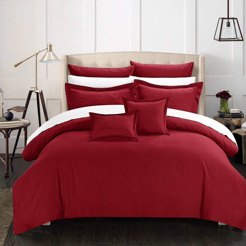 Chic Home Khaya 11 Piece Jacquard Comforter Set Embossed Striped Bed in a Bag-