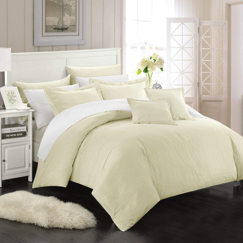 Chic Home Khaya 11 Piece Jacquard Comforter Set Embossed Striped Bed in a Bag-Beige