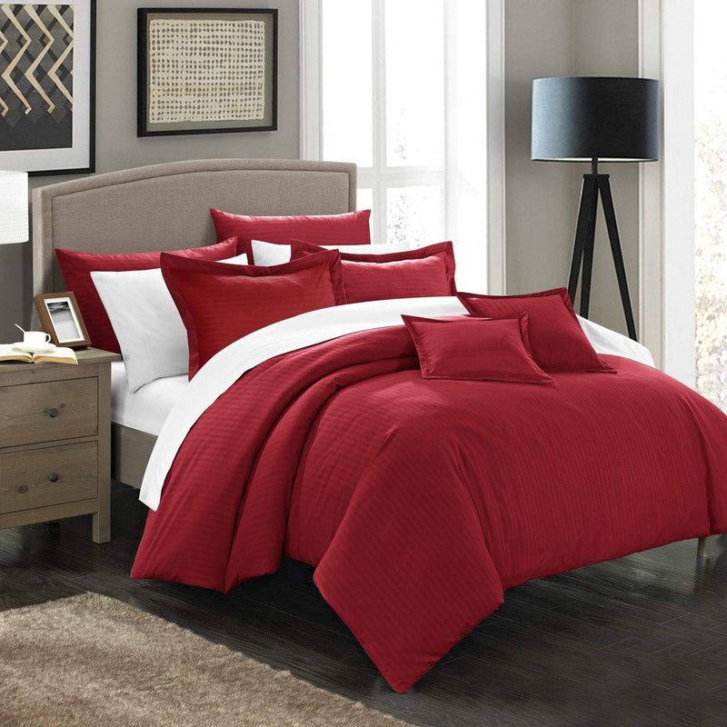 Chic Home Khaya 11 Piece Jacquard Comforter Set Embossed Striped Bed in a Bag-Burgundy