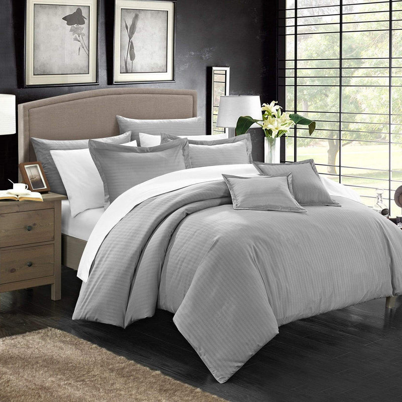 Chic Home Khaya 11 Piece Jacquard Comforter Set Embossed Striped Bed in a Bag-Silver