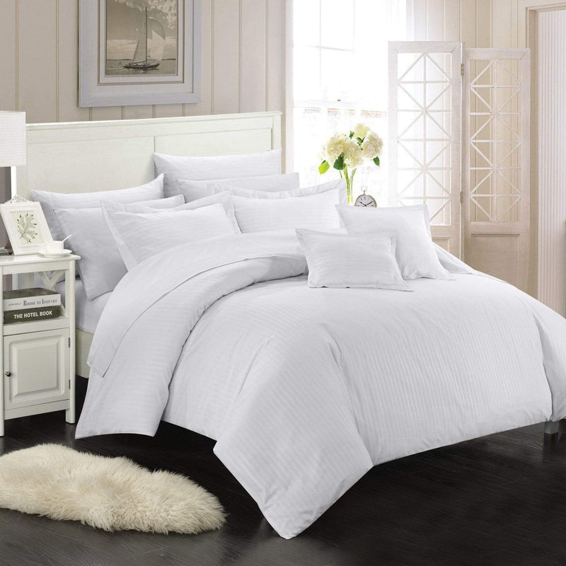 Chic Home Khaya 11 Piece Jacquard Comforter Set Embossed Striped Bed in a Bag-White