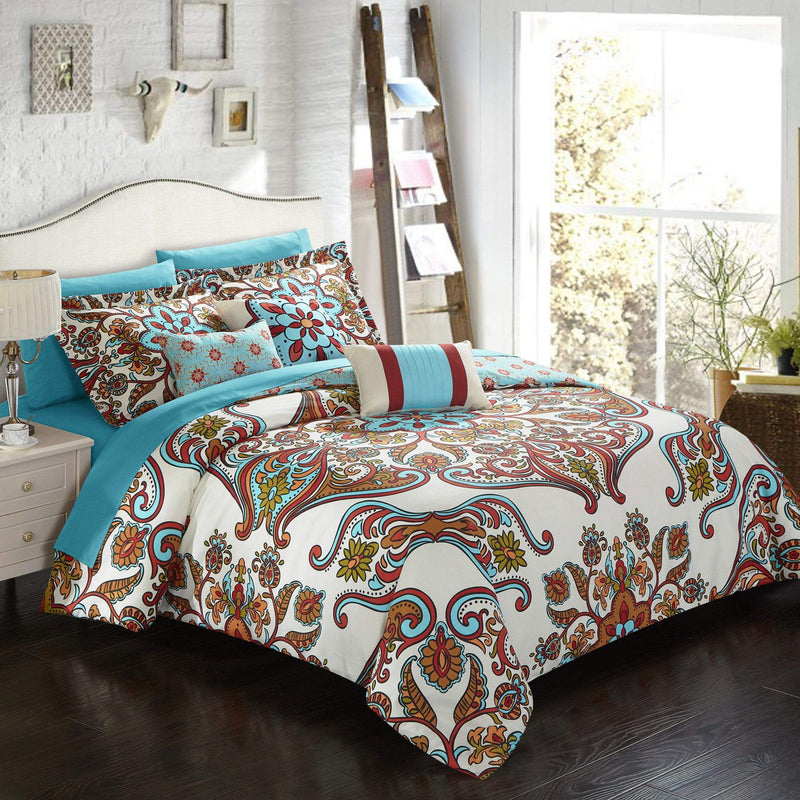 Chic Home La Harpe 10 Piece Reversible Comforter Set Boho Paisley Print Geometric Bed in a Bag Blue