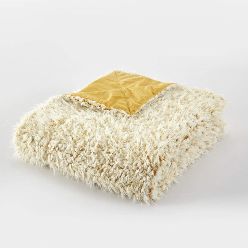 Chic Home Lambs Hill Throw Blanket 2 Piece Set Shaggy Lion Faux Fur Micromink Throw Pillow Gold-BTB24008-CHB
