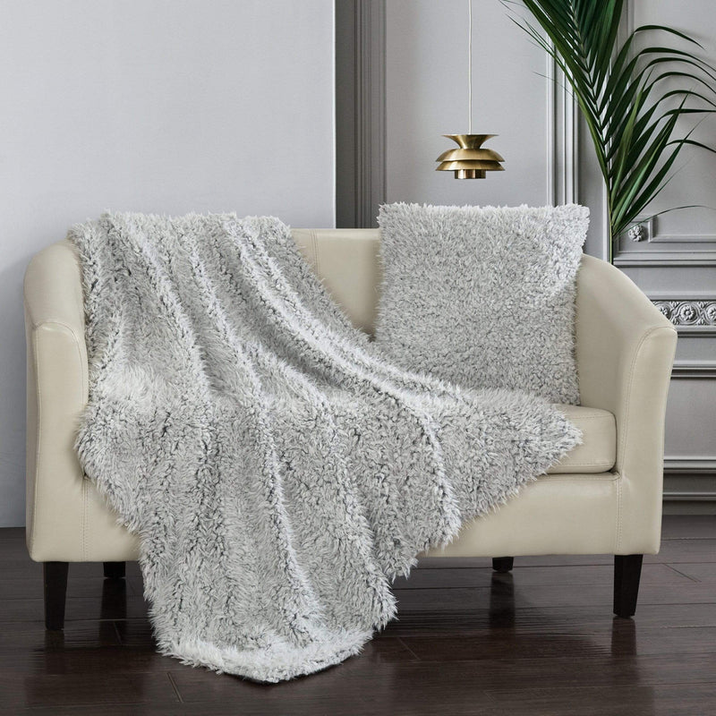 Chic Home Lambs Hill Throw Blanket 2 Piece Set Shaggy Lion Faux Fur Micromink Throw Pillow Grey-BTB24015-CHB