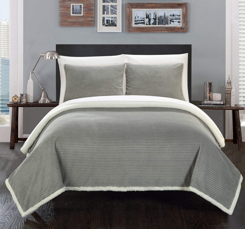Chic Home Lancy Blanket 3 Piece Set Ultra Plush Micro Mink Sherpa Lined Textured Bedding-Grey