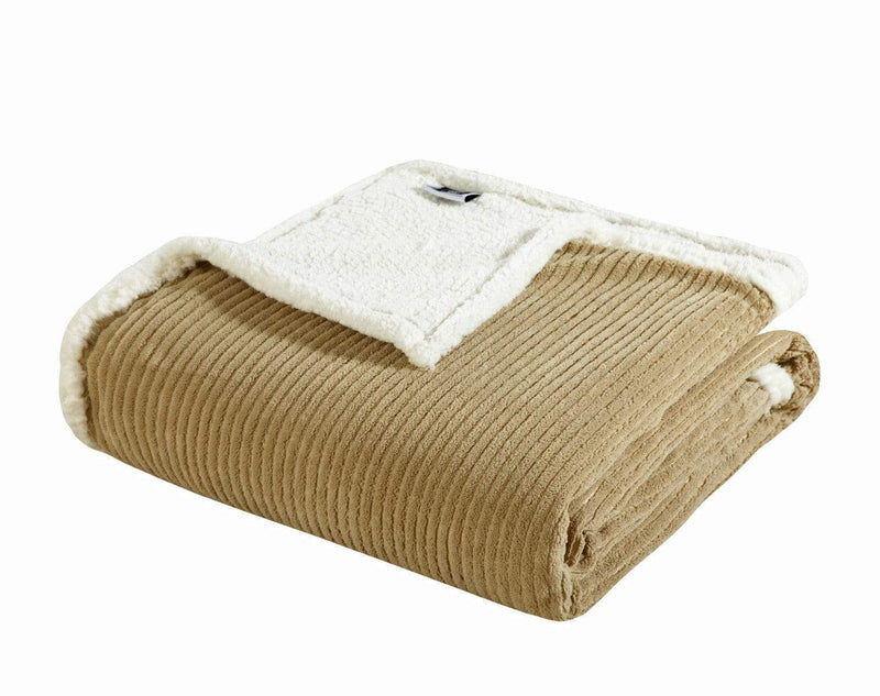 Chic Home Lancy Blanket 3 Piece Set Ultra Plush Micro Mink Sherpa Lined Textured Bedding Taupe