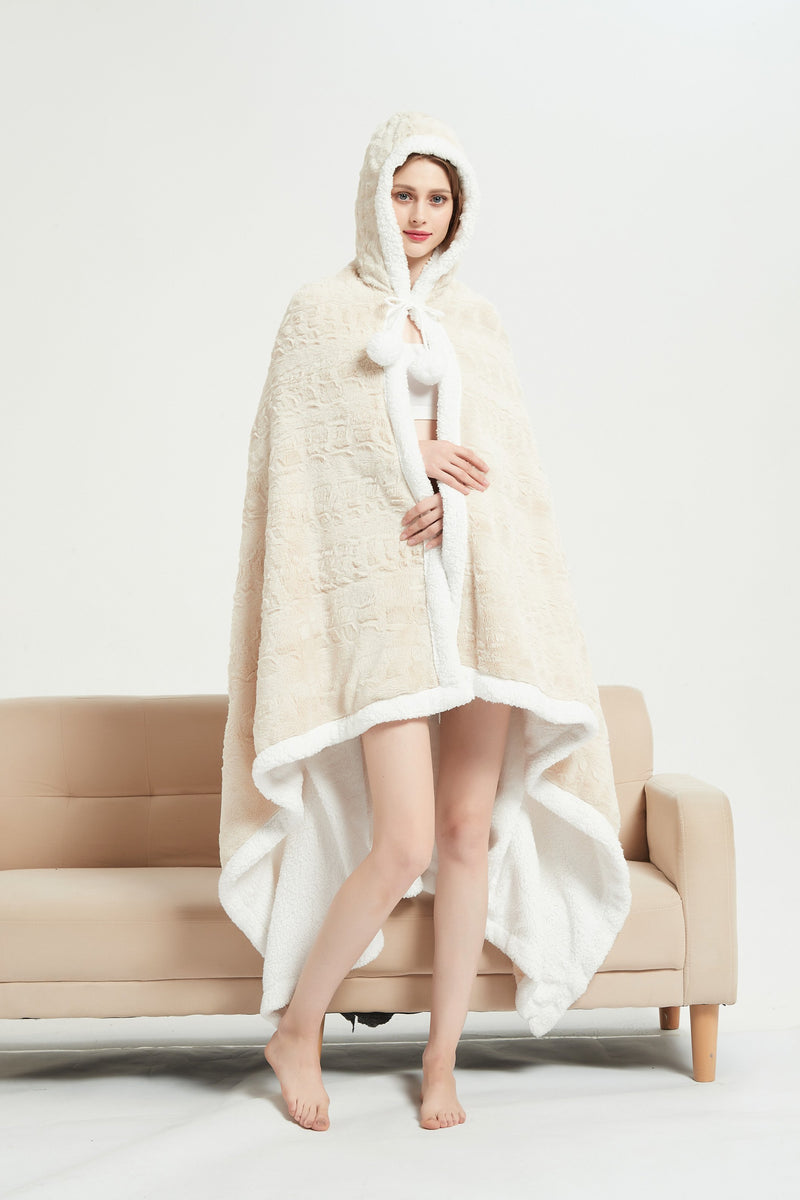 Chic Home Lansing Snuggle Hoodie Animal Pattern Robe Plush Micromink Sherpa Wearable Blanket