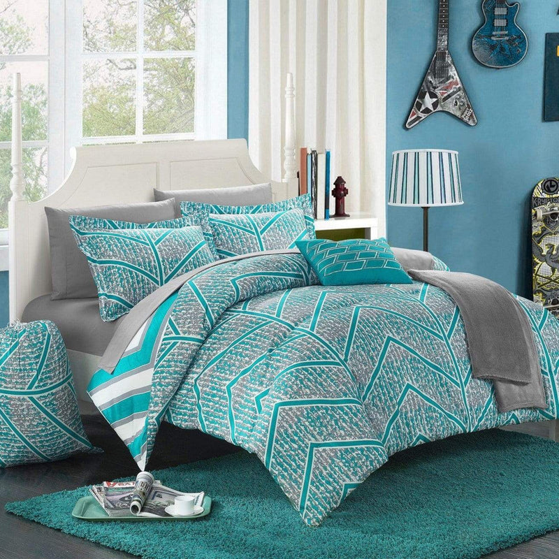 Chic Home Laredo 10 Piece Reversible Comforter Set Geometric Chevron Print Bed in a Bag-Aqua