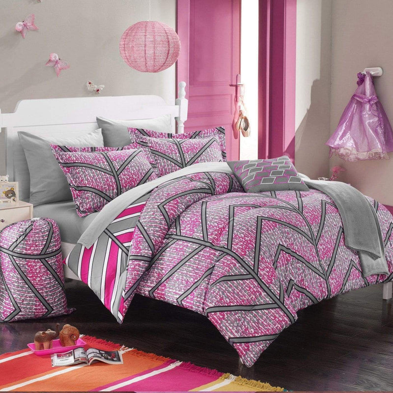 Chic Home Laredo 10 Piece Reversible Comforter Set Geometric Chevron Print Bed in a Bag-Fuchsia
