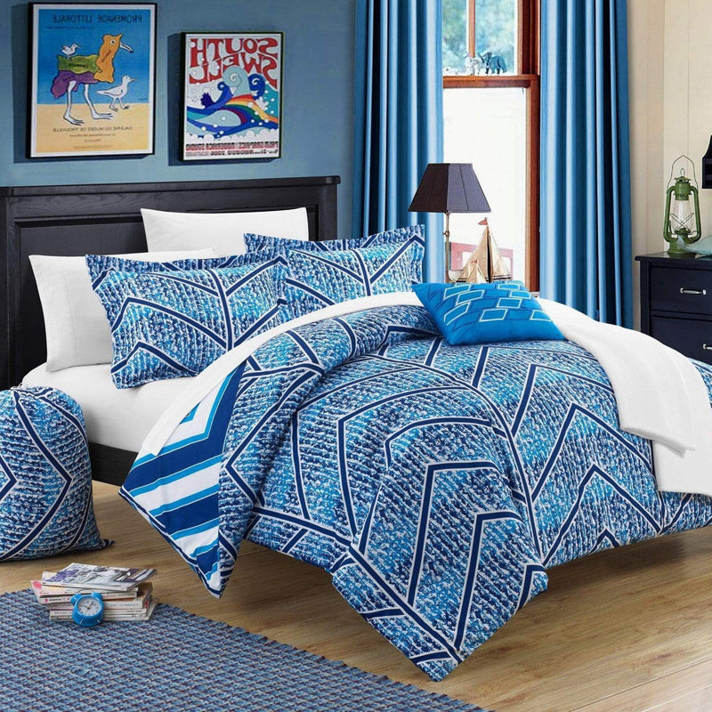 Chic Home Laredo 10 Piece Reversible Comforter Set Geometric Chevron Print Bed in a Bag-Navy
