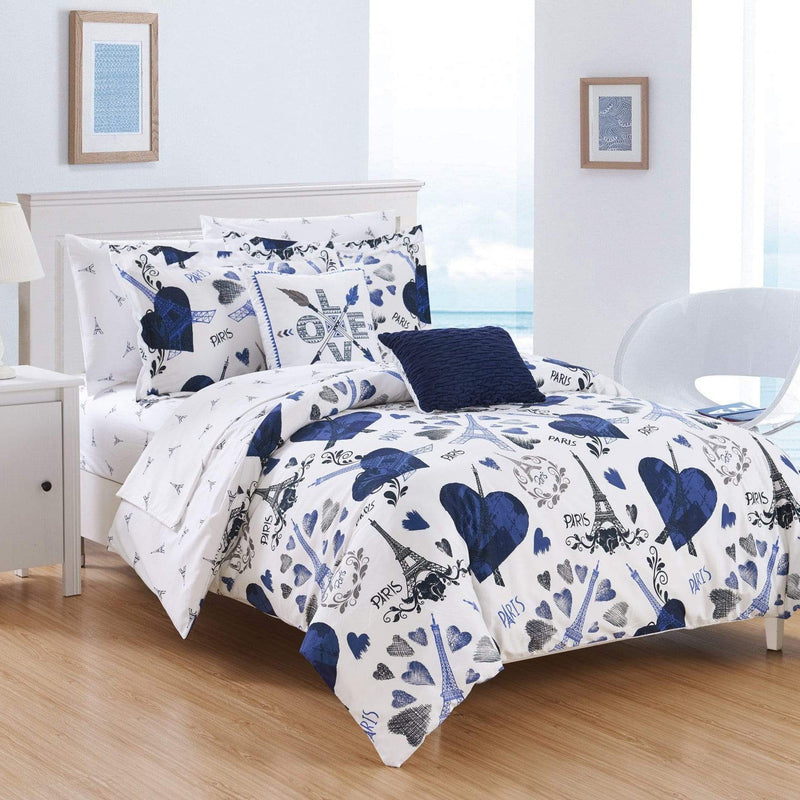 "Chic Home Le Marias 9 Piece Reversible Comforter Set ""Paris Is Love"" Print Design Bed in a Bag-"