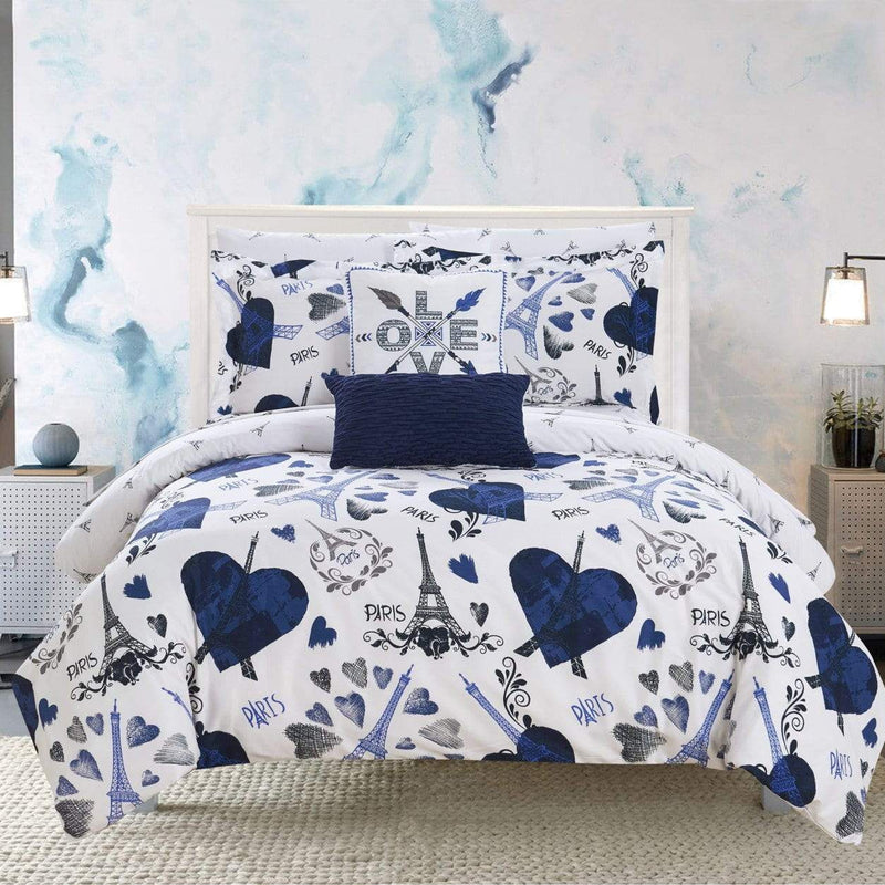 "Chic Home Le Marias 9 Piece Reversible Comforter Set ""Paris Is Love"" Print Design Bed in a Bag-Navy"