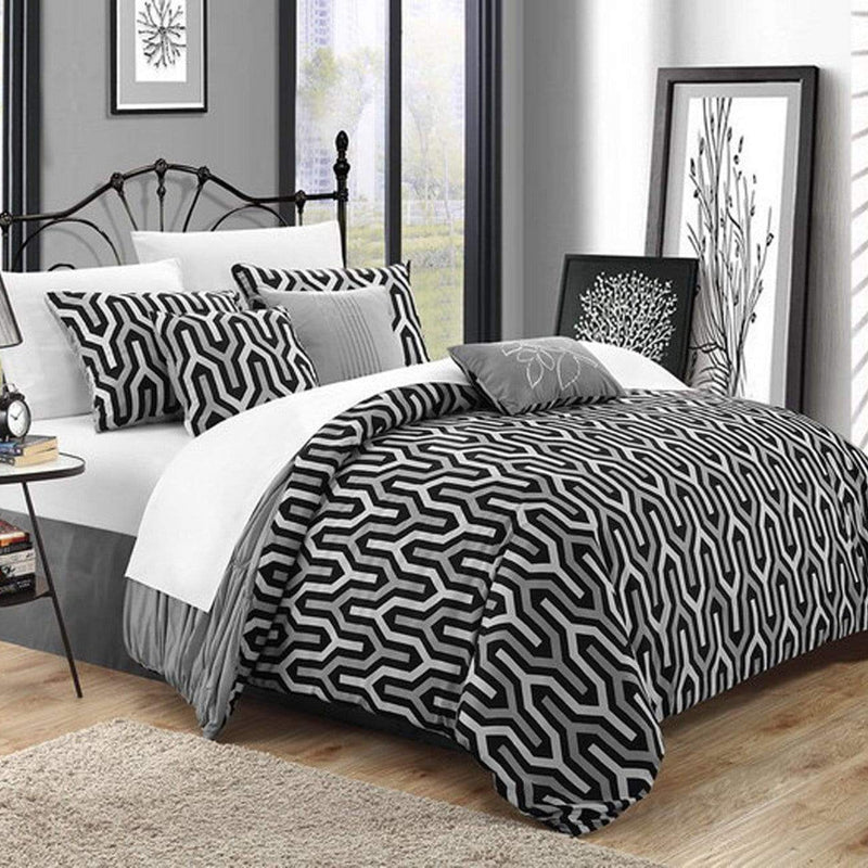 Chic Home Lessie 11 Piece Reversible Comforter Set Ruffled Geometric Pattern Bed in a Bag-