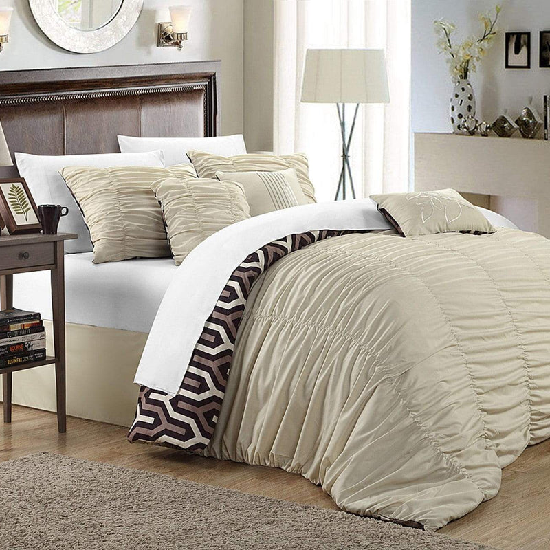 Chic Home Lessie 11 Piece Reversible Comforter Set Ruffled Geometric Pattern Bed in a Bag-Beige