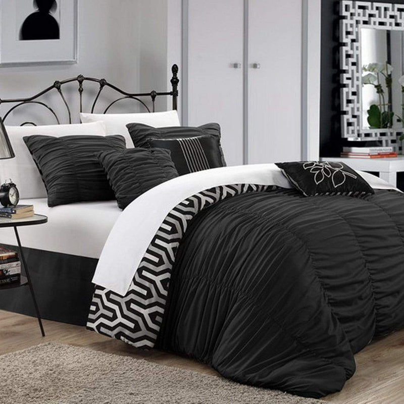 Chic Home Lessie 11 Piece Reversible Comforter Set Ruffled Geometric Pattern Bed in a Bag-Black