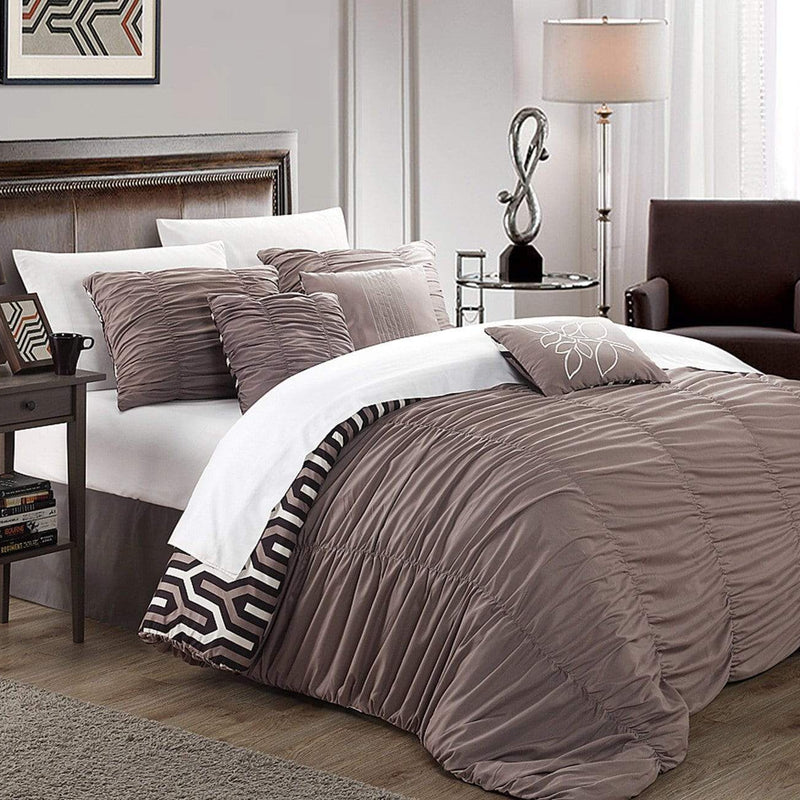 Chic Home Lessie 11 Piece Reversible Comforter Set Ruffled Geometric Pattern Bed in a Bag-Brown
