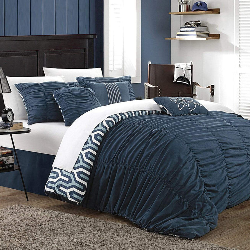 Chic Home Lessie 11 Piece Reversible Comforter Set Ruffled Geometric Pattern Bed in a Bag-Navy