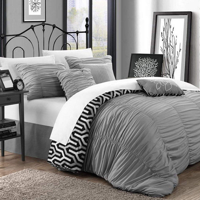 Chic Home Lessie 11 Piece Reversible Comforter Set Ruffled Geometric Pattern Bed in a Bag-Silver