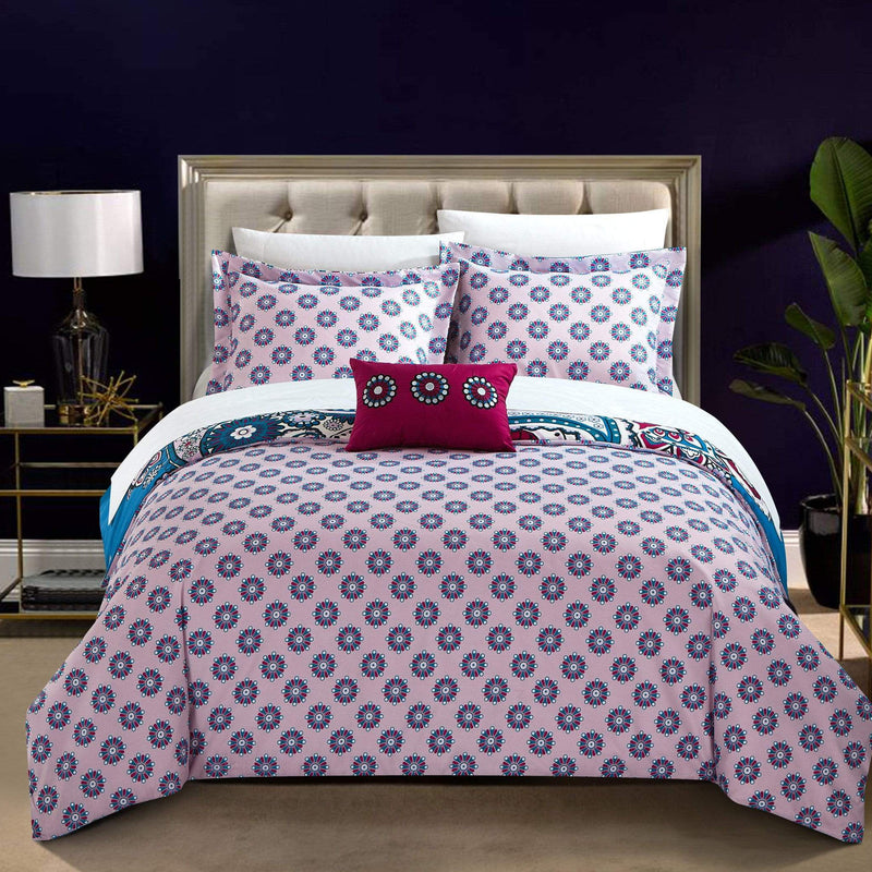 Chic Home Lively 4 Piece Duvet Cover Set Paisley Print Geometric Pattern Design Bedding Blue