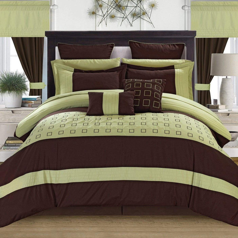 Chic Home Lorde 25 Piece Color Block Comforter Set Embroidered Design Bed in a Bag-