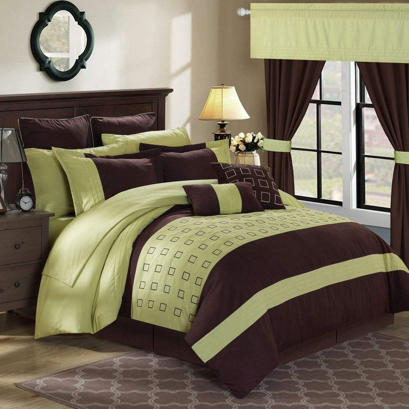 Chic Home Lorde 25 Piece Color Block Comforter Set Embroidered Design Bed in a Bag-Green