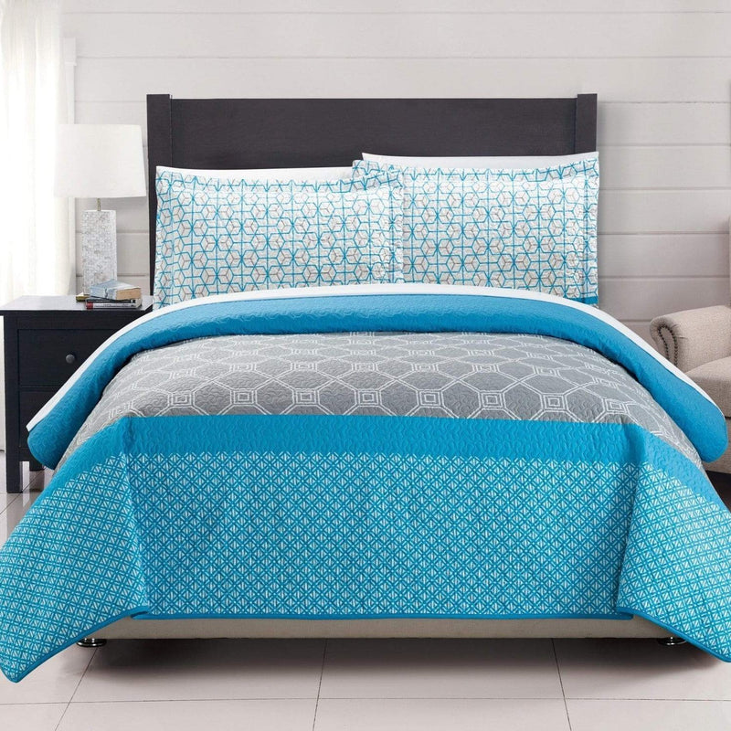 Chic Home Lori 3 Piece Quilt Set Reversible Modern Geometric Print Bedding-