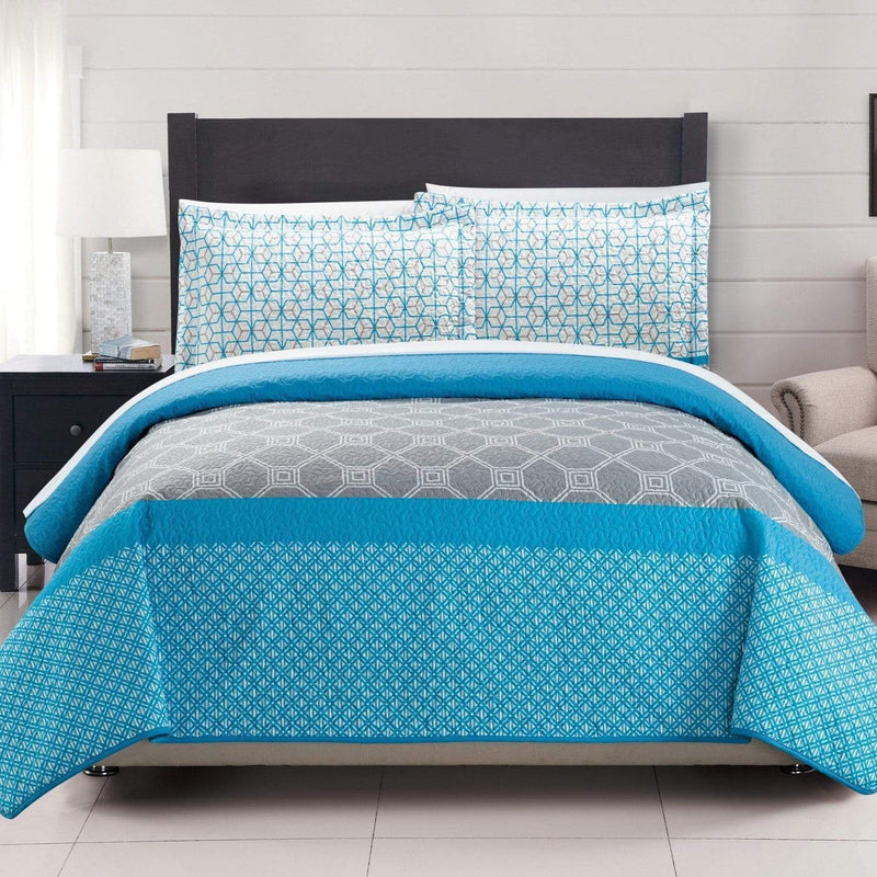 Chic Home Lori 7 Piece Quilt Set Reversible Modern Geometric Print Bed in a Bag-