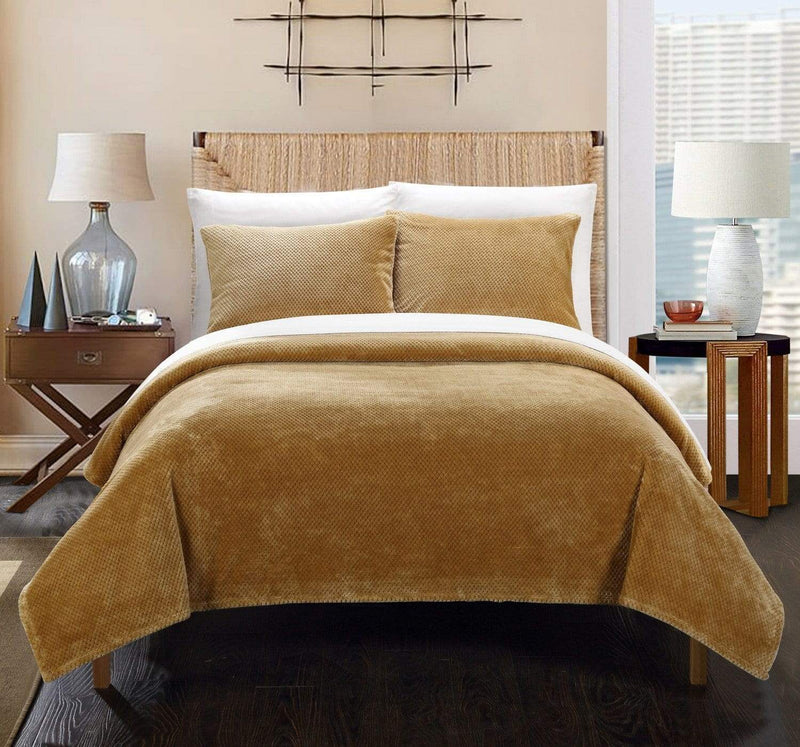 Chic Home Luxembourg 3 Piece Blanket Set Ultra Plush Micro Mink Waffle Textured Bedding Camel