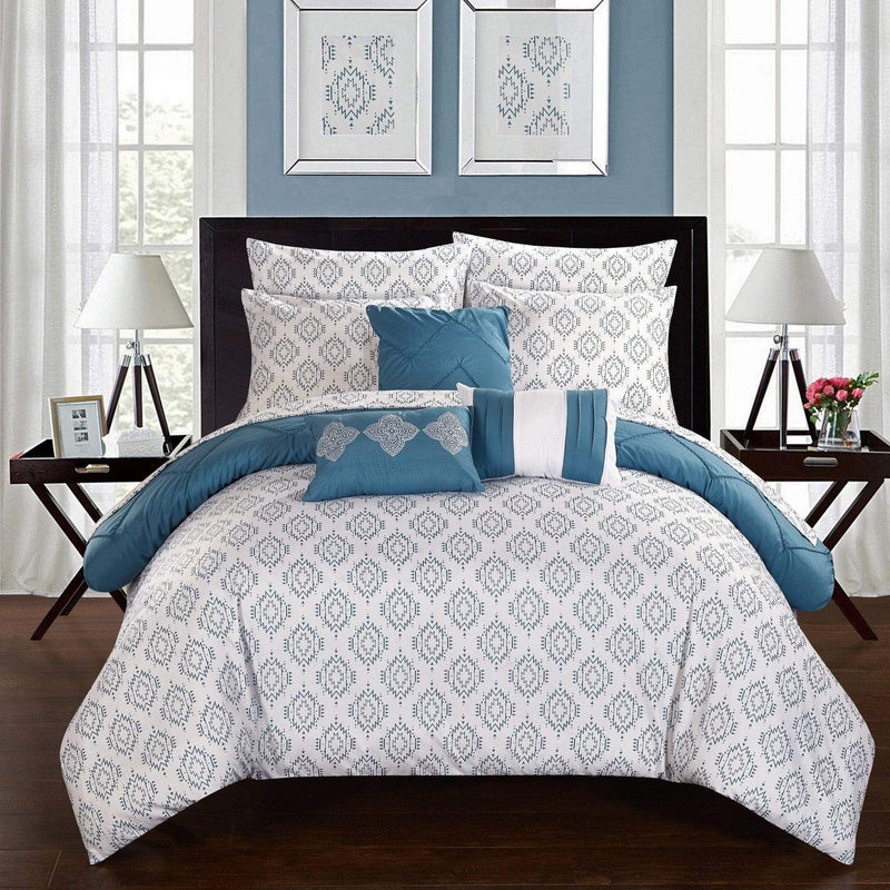 Chic Home Maddie 10 Piece Reversible Comforter Set Pinch Pleat Ikat Pattern Bed in a Bag-