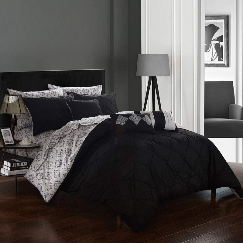 Chic Home Maddie 10 Piece Reversible Comforter Set Pinch Pleat Ikat Pattern Bed in a Bag-Black