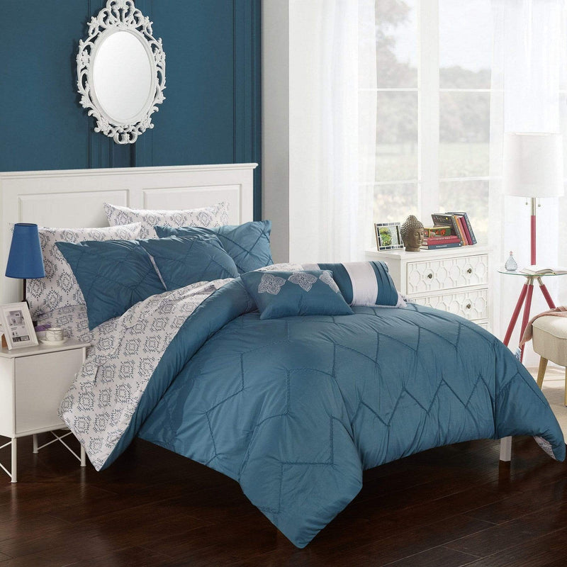 Chic Home Maddie 10 Piece Reversible Comforter Set Pinch Pleat Ikat Pattern Bed in a Bag-Blue