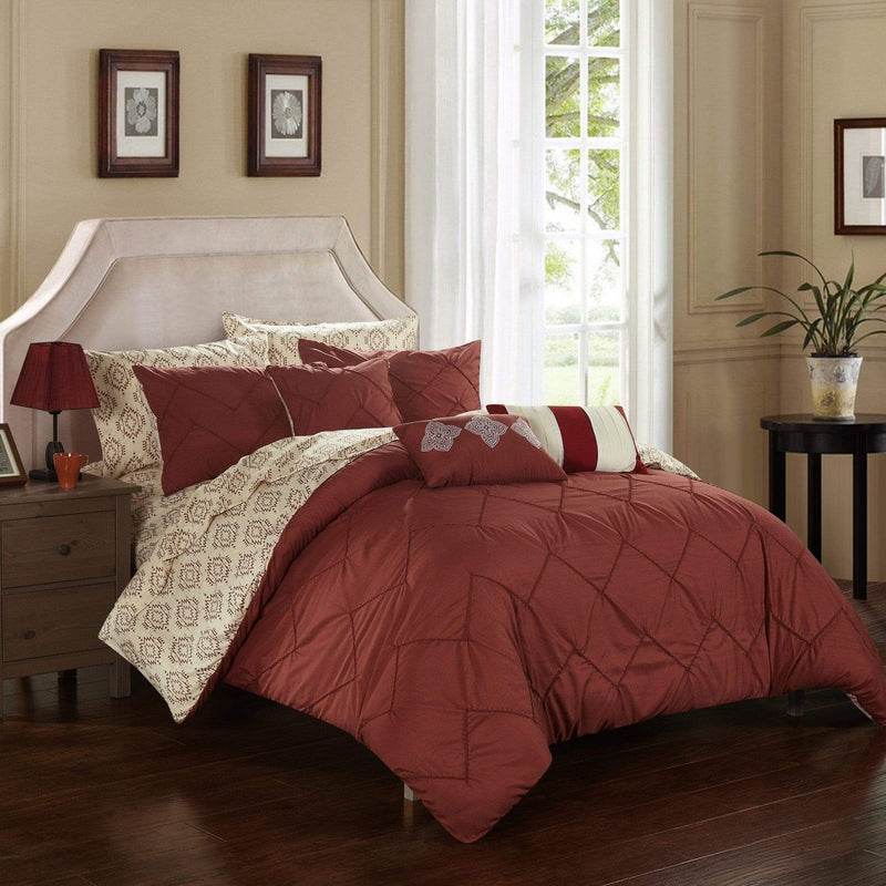 Chic Home Maddie 10 Piece Reversible Comforter Set Pinch Pleat Ikat Pattern Bed in a Bag-Marsala