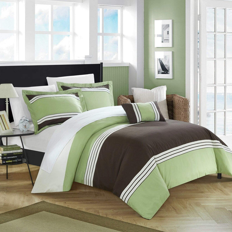 Chic Home Madison 4 Piece Duvet Cover Set Patchwork Hotel Collection Embroidered Bedding-
