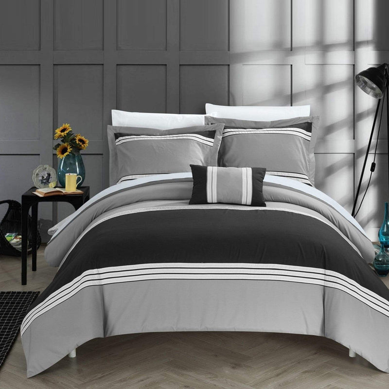 Chic Home Madison 4 Piece Duvet Cover Set Patchwork Hotel Collection Embroidered Bedding-Black